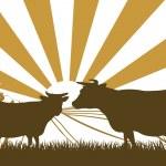 Sunrise Cow Farm Landscape — Stock Vector #34531505