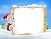 Santa Christmas Sign Snow scene — Stock Vector