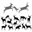 Stock Vector: Deer Silhouettes