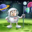 Astronaut Outer Space Cartoon — Vettoriali Stock