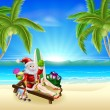 Stock Vector: Santa Relaxing on Hot Sunny Beach