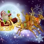 Постер, плакат: Santa Claus Sleigh Christmas Scene