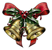 Vintage Etching Christmas Holly Bow — Vecteur