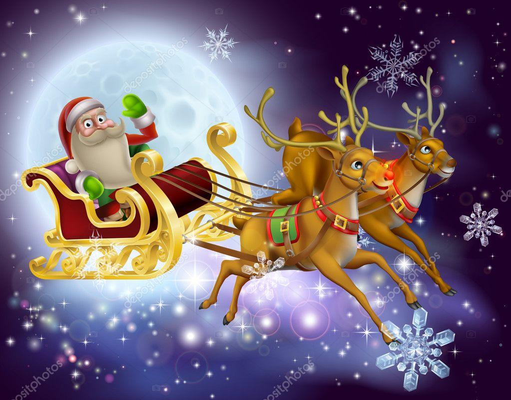 Weihnachtsmann-Schlitten-Weihnachten-Szene — Stockvektor © Krisdog ...