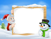 Santa Snowman Cartoon Sign — Stock Vector
