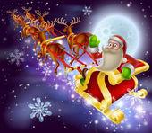 Santa Claus Sleigh Christmas Scene — Vecteur