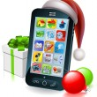 Christmas mobile phone illustration — Imagen vectorial