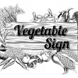 Vintage vegetable produce sign — Stockvectorbeeld