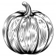 Vintage retro woodcut pumpkin — Stock vektor