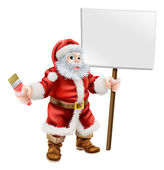 Santa holding paintbrush and sign — Stock Vector
