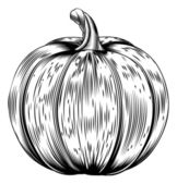 Vintage retro woodcut pumpkin — Vecteur