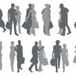 Shopping couple silhouettes — Stock Vector
