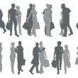 Stock Vector: Shopping couple silhouettes