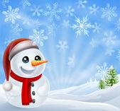 Christmas Snowman in Winter Scene — Stock Vector