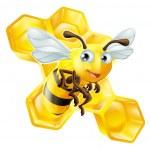 Cartoon Bee and Honey Comb — Vetorial Stock