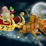 Santa Claus Sleigh Scene — Stock Vector #36490225