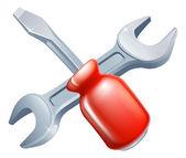 十字的螺丝刀和扳手工具 — 图库矢量图片