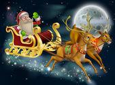 Santa Claus Sleigh Scene — Vecteur