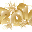Gold New Year or Christmas 2014 Decorations — Imagens vectoriais em stock