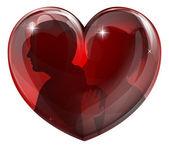 Par silhuetter hjärta — Stockvektor