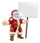 Santa holding sign and doing thumbs up — Stock Vector