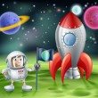 Cartoon astronaut and vintage rocket — ストックベクタ #36870693