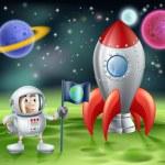 Cartoon astronaut and vintage rocket — Stock Vector