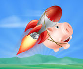 Flying Rocket Piggy Bank — Stock Vector