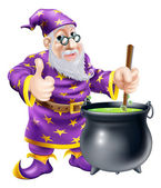 Wizard and cauldron — Stock Vector