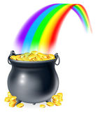 Pot of gold at the end of the rainbow — Stock Vector