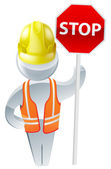 Stop sign workman — Stock Vector