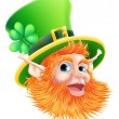 St Patricks Day Leprechaun Face — Stock Vector