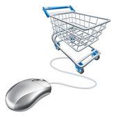 Mouse shopping cart — Stock Vector
