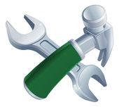 交叉的锤子和扳手工具 — 图库矢量图片