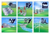 Icone di potenza ed energia — Vettoriale Stock