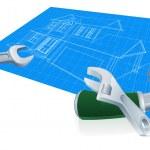 House blueprint construction concept — Stock Vector #38893487