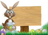 Rabbit and Easter sign — Stock Vector