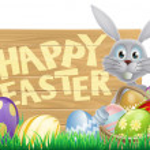 Wooden sign Happy Easter bunny — Stock Vector
