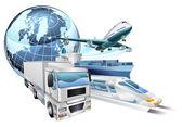 Logistics transport globe concept — Stock Vector
