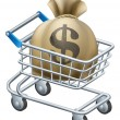 Money shopping cart trolley — Stock Vector