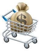 Money shopping cart trolley — Stock Vector
