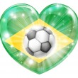 Brazil soccer heart flag — Stock Vector