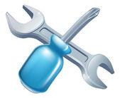 Gekreuzte Werkzeuge für Schraubenschlüssel und Schraubendreher — Stockvektor