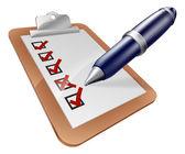 Survey clipboard and pen — Stock Vector