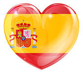 Spain flag love heart — Stock Vector