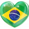 Brazil flag love heart — Stock Vector