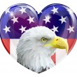 American flag eagle love heart — Stock Vector