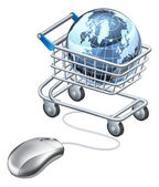 Globe computer mouse shopping cart — Vector de stock