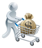 Person pushing trolley with money — Stock Vector