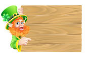 Leprechaun Wooden Sign — Stock Vector